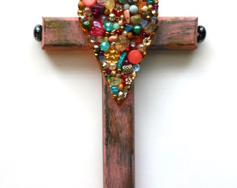 Mothers day gift CROSS SALE  hand painted beaded found objects mixed media wall decor religious art cross
