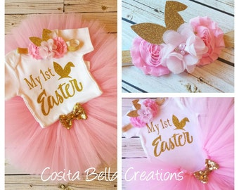 My First Easter tutu set,Pink and Gold first easter tutu,first easter outfit,baby girl outfit,pink easter tutu,pink tutu, outfit