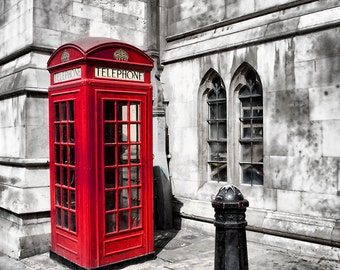 Red Telephone Box London Selective Color Travel Art England UK Great Britain Anglophile Phone Booth Photographic  Print