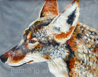"38""x50"" Coyote PRINT of original painting by Natalie Wright"
