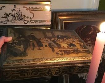 AMAZING Antique Tin Box, distressed, old, vintage. ornamental ornaments
