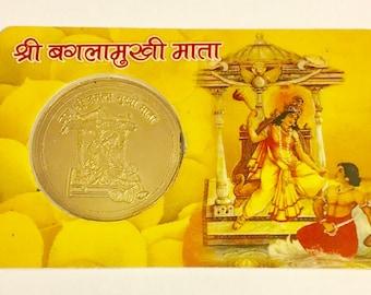 Sri Baglamukhi Brahmin Blessed Yantra Coin - Defeat Enemies Gossip Court Slander