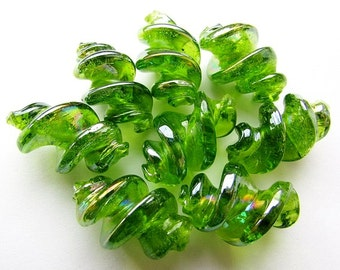 Spiral Glass Beads Spring Green Lampwork Glass Beads Spiral Tube Bead Craft Supply Jewelry Supplies (4)