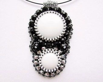 Beadwork Black White Necklace Beaded Cabochon Necklace Bead Embroidered Pendant Embroidery Necklace Vintage Style Jewelry Ready to ship