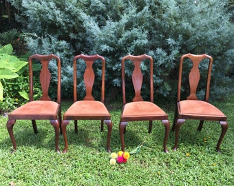 Antique QUEEN ANNE CHAIRS Set of Four, 4 Queen Anne Chair Victorian Chairs Hollywood Regency Early 1900's, Suede Seating at Ageless Alchemy