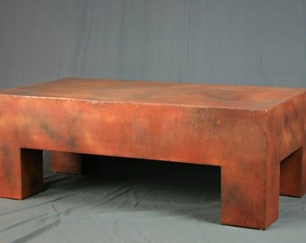 Modern Coffee Table. Industrial Orange Coffee Table. Orange Steel Bench.  Orange Steel Table