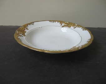 Vtg WALBRZYCH Heavy GOLD GILT on White Rimmed Soup Bowl Made in Poland