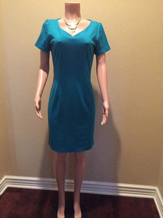 elegant fitted knit teal blue career dress. Black Bedroom Furniture Sets. Home Design Ideas