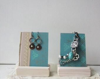 Pair Earring / Bracelet Displays - Pastel Blue Summer Display - Reversible Recycled Vintage Book Jewelry Display - Ready to Ship
