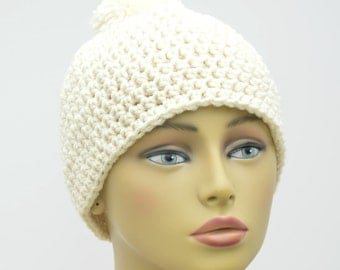 Aran / Cream Pom Pom Beanie , Adult winter hat , Crochet hat , Gift For Her , Gift under 20 , ready To Ship