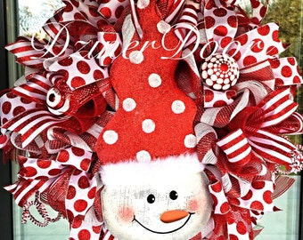 Cute Polka Dot Snowman deco mesh Wreath