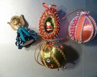 Lot of 4 Vintage Handmade Beaded Ornaments