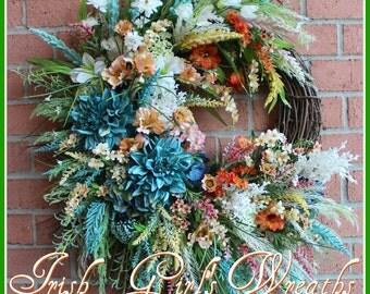 MADE TO ORDER Peach and Turquoise Large Coastal Coastal Sunrise Wreath, Summer Wreath, Coral, Yellow, Spring, Beach Wreath, Floral Wreath