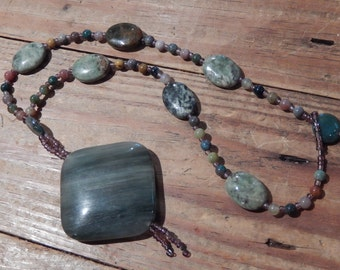 Large Agate Pendant with Jasper and Agate Beads - Stone Beaded Necklace - Hippie - Boho - Women, Earthy, Natural Jewelry - Green, Purple
