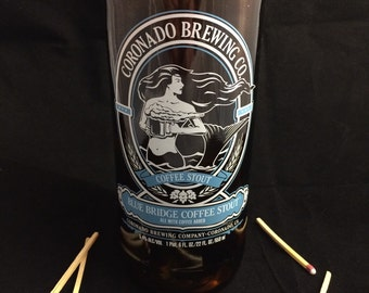 Custom Soy Upcycled Beer Bottle Container Candle-CORNADO BREWING Blue Bridge Coffee Stout