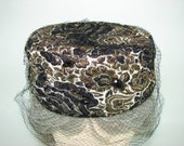 Mr. Lewis Pillbox Hat, Black and Gold Brocade Hat with Netting Veil and Black Stones