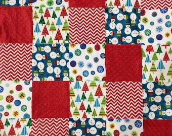 Minky Patchwork Blanket Christmas/Christmas Blanket/Christmas Throw/Christmas Tree/Snowman