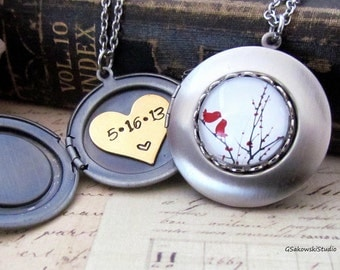 Personalized Two Little Birds Locket Necklace, Custom Hand Stamped Brushed Antique Silver Love Birds Locket Necklace