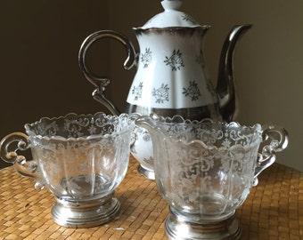 Sterling Silver Etched Glass Sugar Creamer Set