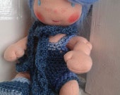 Max is a cute Waldorf doll totally hand made and crocheted to hold and cherish