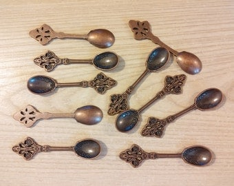 10 Miniature Spoons Bronze Plated  P-81