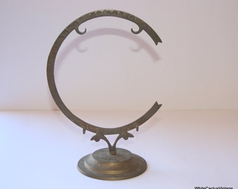 Engrave Brass Half Moon Photo Gong Stand, Made in India, Metal Ornate Hot Stamp 1970s era Office-Family Room Home Decor