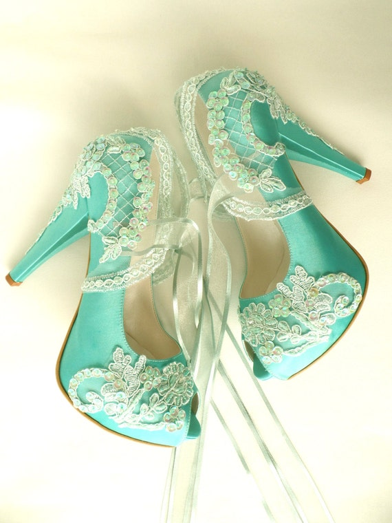 etsy wedding shoes wedding shoes mint embroidered lace bridal shoes 3943