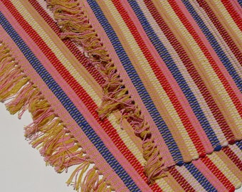 "Handwoven Rag Rug 20"" x 30"" Warm Primary Colors"