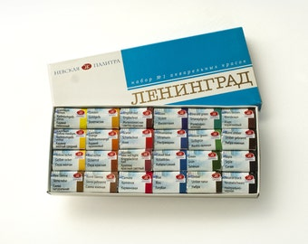 "Watercolor Set, 24 colors, Full pans, ""Leningrad"" Extra-fine artists' 24 watercolours set"