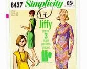 1960s Dress, Size 12, Bust 32, Shift Dress, Cowl Neck Tie, Vintage Sewing Pattern