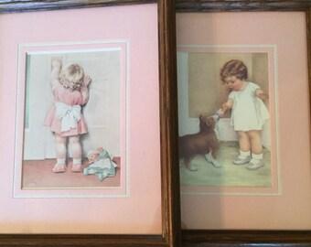 """Little Girl Art Prints Framed / Vintage Framed Prints Pink Little Girl's Room / Vintage Shabby Chic Wall Hangings Girl Art Prints 9"""" x 11"""""""