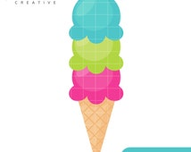 Ice Cream Cone, Scoops, Summer, Cute Clipart, Personal & Small Commercial Use, Vector Clip Art, Instant Download, png, jpeg, eps