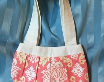 Pink and white damask purse bag