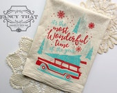 Most Wonderful Time of the year, car with Christmas tree. Holiday song lyrics Natural Cotton Flour Sack Tea Towel. Hostess, Christmas gift.