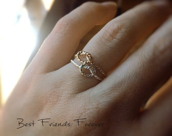 SALE Knot Rings Set, Knot Rings, Rope Knot Rings, BFF Rings, Best Friends Jewelry, Gift For Friends,Remember Rings,Never Forget,BFF,Eternity