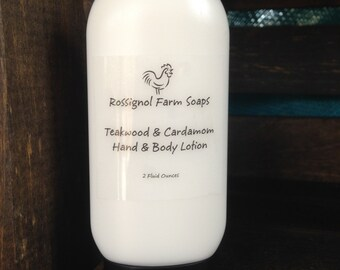 Teakwood & Cardamom 2 oz Hand and Body Lotion
