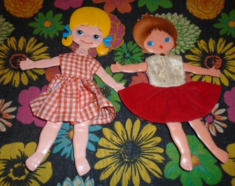 Vintage Pair Flat Jointed Dolls