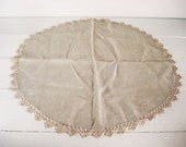 Vintage Tablecloth Round Linen Tatting Crochet Lace Edge Tablecloth