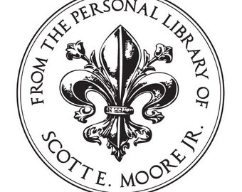 From the Library of - Fleur de Lis Circle  - Personalized Wooden Stamp - FREE SHIPPING