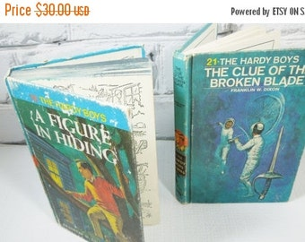 On Sale Price The Hardy Boys. Vintage Hardback Set of Two. Circa 1965 and 1970. Children's Mystery Stories. Nursery Decor.