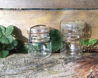 Vintage Glass Canning Jars Set Pint Size