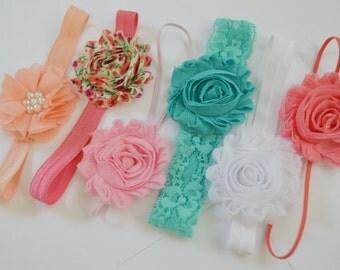 Headband Set, shabby chic baby headband set of 6, vintage headband, baby shower gift, infant headband, baby hair bows