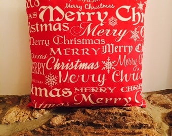 "Red and Tan Printed ""Merry Christmas"" Pillow"