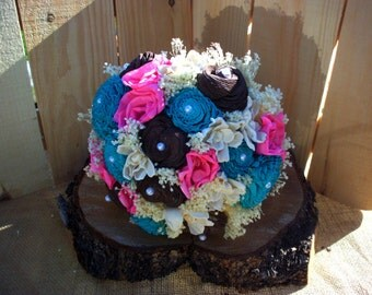 Turquoise hot pink and brown bridal bouquet | rustic wedding bouquet | sola flower bouquet | bridal bouquet | keepsake bouquet
