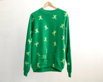 vintage FROG all over frog HOLLOW kelly green 80s 90s vintage sweatshirt top oversize raglan long sleeve fleece shirt