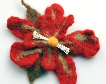 Felt flower brooch pin, felted wool flower brooch, red valentine gift, flower hair-clip, gifts for her, brooch jewelry, flower corsage pin