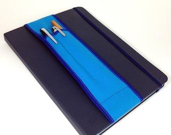 Notebook Pencil Holder 2-pocket Tall Bandolier-- Blue on Blue