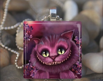 15% OFF AUGUST SALE : Purple Cheshire Cat Wonderland Kitty Smile Glass Tile Pendant Necklace Keyring