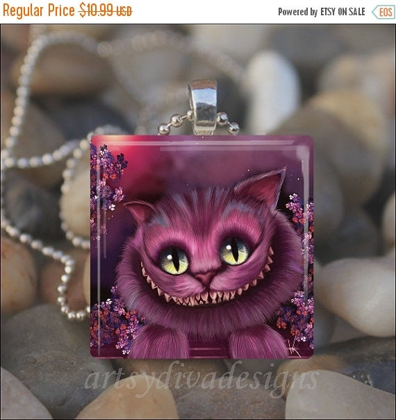 15% OFF AUGUST SALE : Purple Cheshire Cat Wonderland Kitty Smile Glass Tile Pendant Necklace Keyring