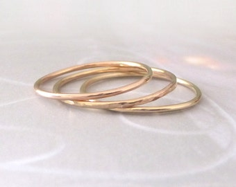 Skinny Gold Rings - Mix and Match set of 3 - 9ct Gold Band Rings